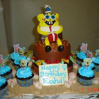 Spongebob On a Crabby Patty - Cake by Dana