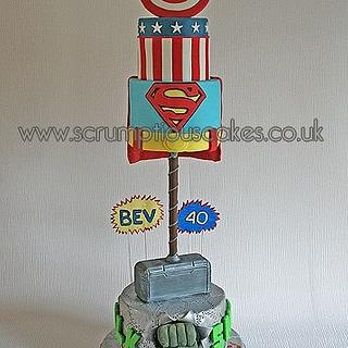 Super Hero 40th Birthday Cake