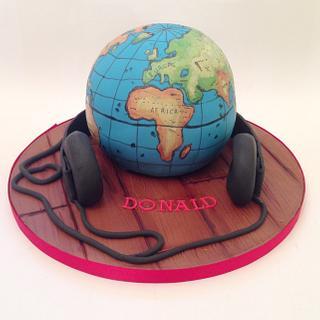 Hand Painted Globe Cake