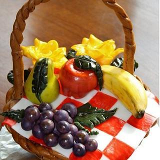 Fruit Picnic Basket Cake
