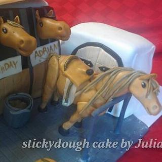 Horses in a barn