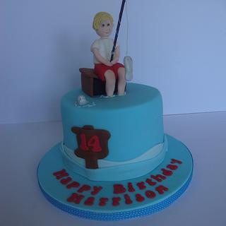 Boys fishing cake