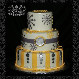 Yellow & Gray 40th bday cake
