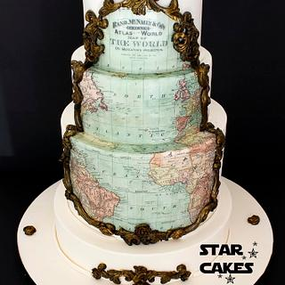 Vintage Map Wedding cake