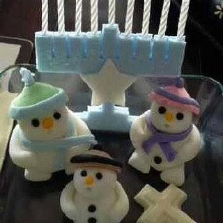 Christmas menorah and snowmen