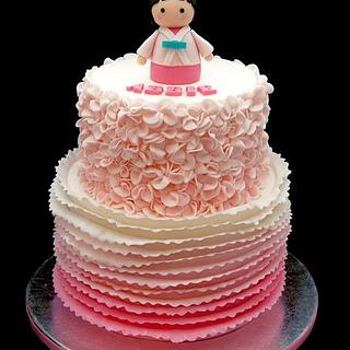 Pink Ruffle Themed Cake for abbie