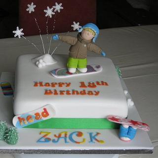 Snowboarder 18th Birthday Cake - Cake by Deborah Cubbon (the4manxies)