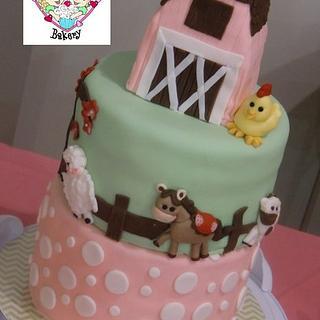 The Girly Barnyard Baby Shower Cake!