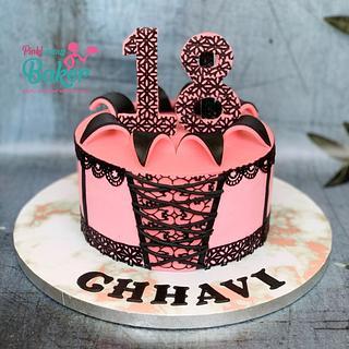Coloured ganache corset cake