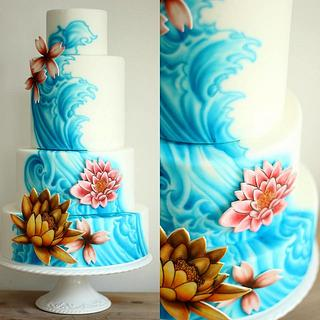 Four tier wedding cake with freehand airbrushing