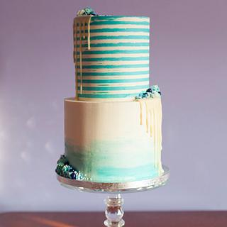 Rustic aqua-blue stripes and watercolour ombré drip cake