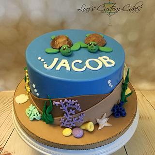 Sea Turtle Cake and Cupcakes  - Cake by Lori Mahoney (Lori's Custom Cakes)