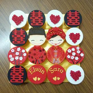 Chinese bridal cupcakes