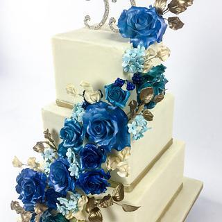 Blue Roses Anniversary Cake - Cake by Jenny Kennedy Jenny's Haute Cakes