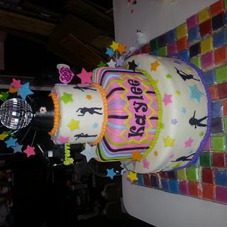 disco dance with light up floor!!! cake - Cake by Kristen
