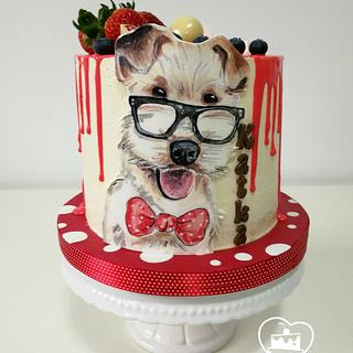 a dog wearing glasses - Cake by MOLI Cakes
