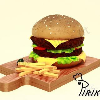 Chocolate-burger cake