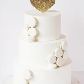 Tarta Blanca y Macarons - White Wedding Cake ^^