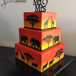 African Animal Themed Wedding Cake - Cake by D-licious Cake Art