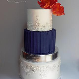 pleated wedding cake - Cake by Enchanted Icing