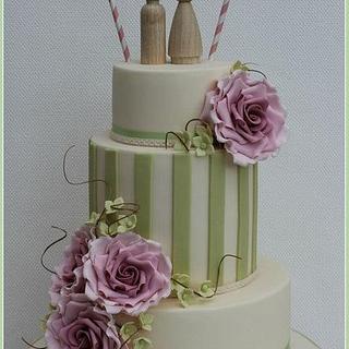 Vintage Bunting & Rose wedding cake - Cake by Fancie Buns