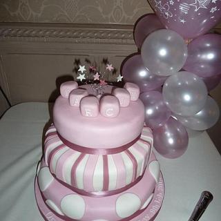 3 tier christening cake - Cake by countrybumpkincakes