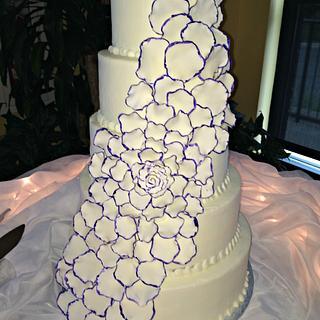 Rose petal wedding cake