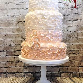 Ombré ruffles wedding cake