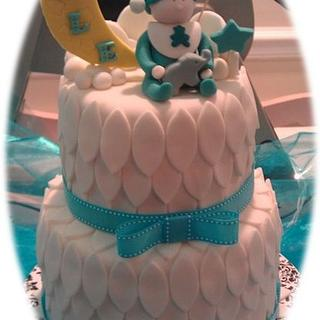 Feathered Baby Shower Cake