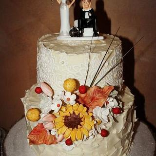 Rustic cake lace buttercream wedding cake