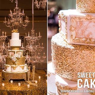 Gold & White Wedding Cake