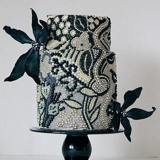 Black & white beaded cake
