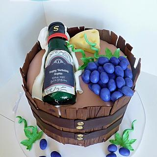 wine and cheese barrel cake