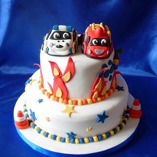 Fire Engine/Police Car - Cake by Bonnie151