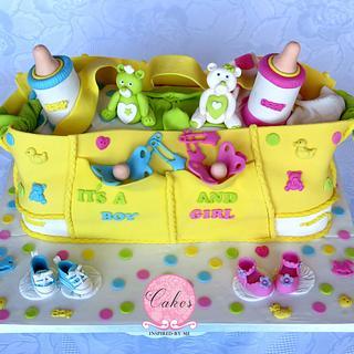 Diaper bag cake for twins