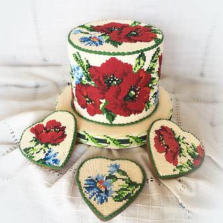Royal İcing .Cross stitch embroidery cake and cookies.