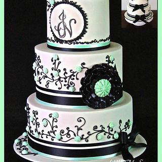 Ivory and Black wedding cake.  - Cake by RED POLKA DOT DESIGNS (was GMSSC)