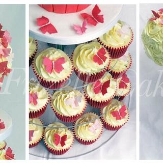 Sugar butterfly cupcake tower - Cake by Frizellecakes