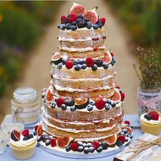 Naked cake and fresh fruit cupcakes