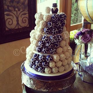 Purple and Ivory Cake Ball Cake