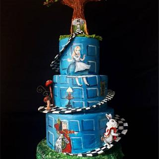 Hand painted alice cake