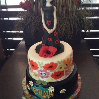 handpainted cake with figurine