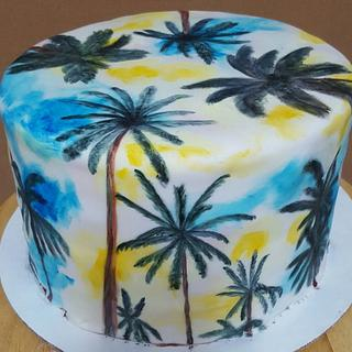 Hand Painted Palm Tree Cake