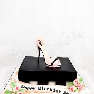 Shoe on a shoebox birthday cake