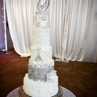 Silver and white bling wedding cake