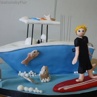 Fishing Boat cake with Surfer - Cake by SweetCreationsbyFlor