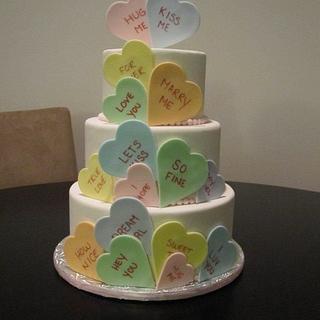 Conversation Heart Cake Dummy - Cake by Kimberley Jemmott
