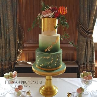 Luxury gold and green wedding cake