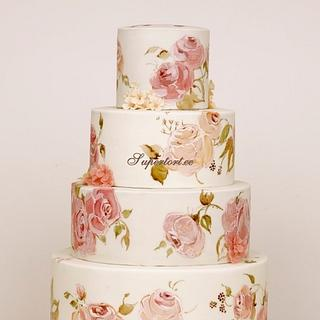 Painted roses cake