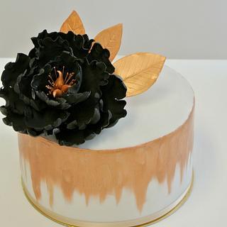 Birthday cake with black peony